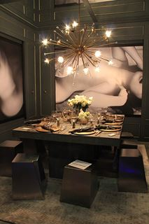 Photo of Black and White Boudoir Dining Room