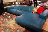 Blue Leather Sofa with Wide Chaise