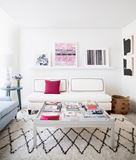 Chic Modern Living Room with Subtle Pink Accents