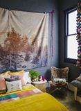 Colorful Bedroom Decor to Offset Drab Grey Walls