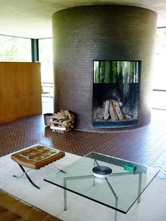 Photo of Fireplace in Open Concept Glass House