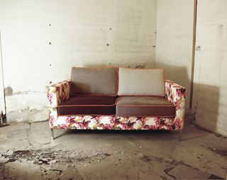 Photo of Floral Sofa with Alternate Cushions and Contrast Piping