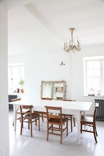 Photo of Modern Country Inspired Dining Room with Mixed and Matched Chairs