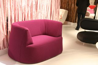 Plush Pink Fabric Loveseat