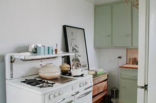 Photo of Serene Pastel Kitchen Area