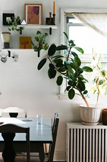 Photo of Shabby-Chic Dining Room with Small Floating Shelves