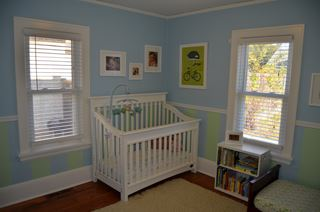 Small Modern Nursery with Baby Blue Walls