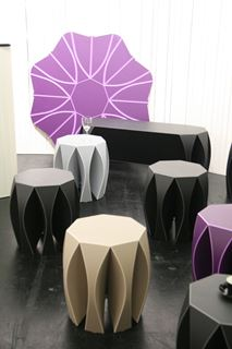 Violet Octagonal Side Tables with Flared Legs