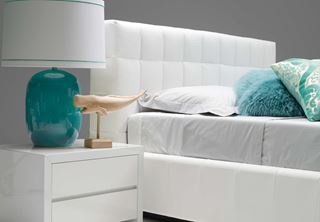 Photo of White Contemporary Bedside with Turquoise Accents