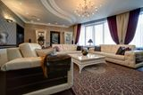 White Tufted Leather Living Room