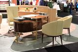 Wood and Glass Hybrid Oval Office Desk