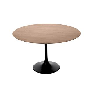 Barbell Round Dining Table Walnut Top Black Base