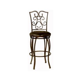 Carolina Bronze Metal Bar Stool with Leather Seat