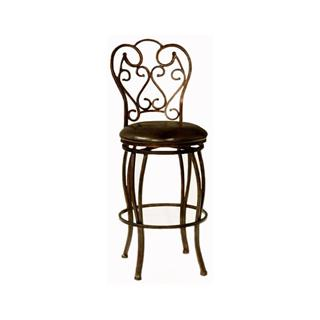 Cherise Bronze Metal Bar Stool with Leather Seat