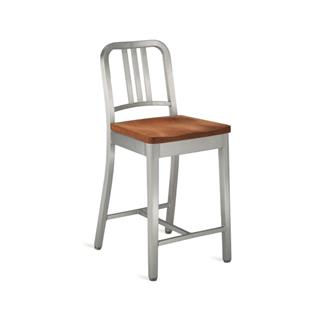 Photo of Army Metal Bar Stool with Wood Seat