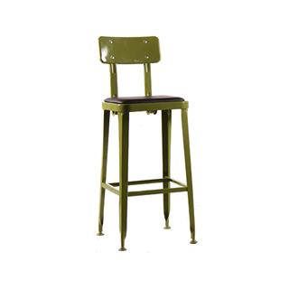 Architect Gunmetal Bar Stool Olive Green