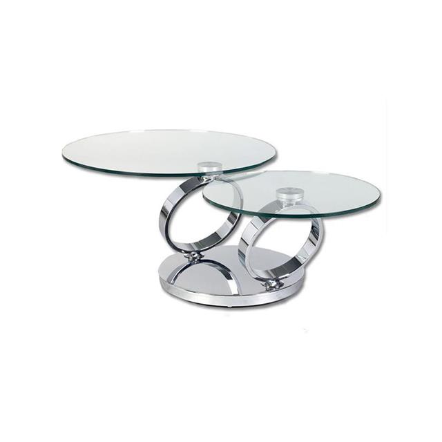 two level swivel round glass coffee table | furniture
