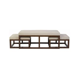 Photo of Chatham Brown Coffee Table Ottoman with Stools - Natural Linen