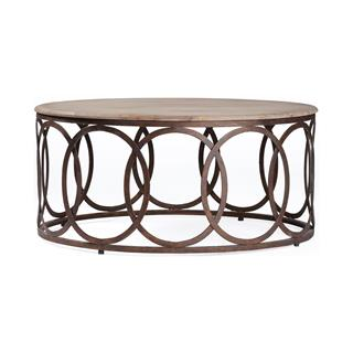 Ella Rustic Oak Coffee Table Interlocking Circle Base