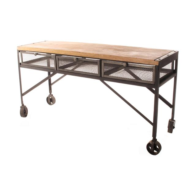 tribeca industrial mesh wheeled desk console table modern design nirvana