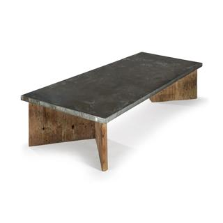 Vedel Industrial Loft Rectangle Coffee Table with Zinc Top