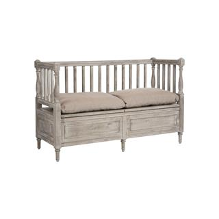 Damita French Country Storage Bench with High Back