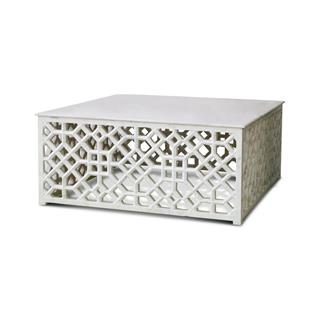 Mamounia Global Bazaar Marble Fretwork Square Coffee Table