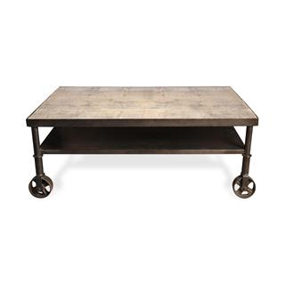 Photo of Belker Industrial Loft Cart Style Coffee Table with Large Iron Casters