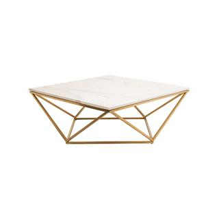 Rosalie Hollywood Regency White Marble Coffee Table