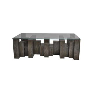 Photo of Lionel Industrial Loft Glass Coffee Table