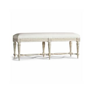 Constance Gustavian Weathered Bench in White Linen