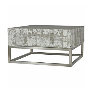 Photo of Maximus Block Concrete Coffee Table with Chrome Base
