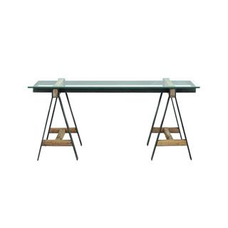 Photo of A-Frame Reclaimed Wood and Glass Desk