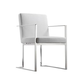 Photo of Armor White Leather Arm Chair