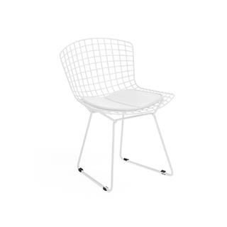 White Bertoia Dining Chair with Pad