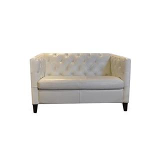 Photo of Aero Leather Loveseat in Pure White