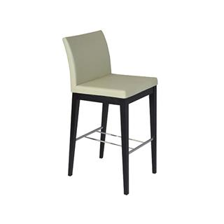 Photo of Aria Cream Leatherette Bar Stool with Wood Legs