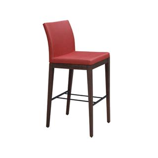 Photo of Aria Leatherette Red Bar Stool with Wood Base