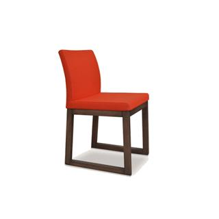 Aria Orange Camira Wool Dining Chair with Wood Sled Legs