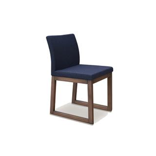 Aria Charcoal Wool Dining Chair with Wood Sled Legs