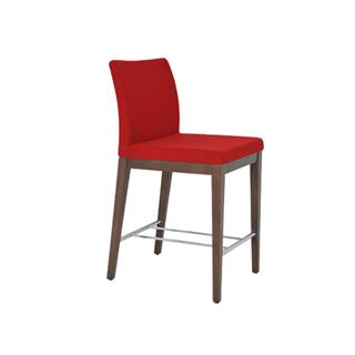 Photo of Aria Red Wool Counter Stool with Wood Legs