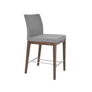 Photo of Aria Silver Silver Camira Counter Stool with Wood Legs