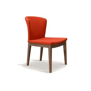 Photo of Capri Orange Wool Dining Chair with Wood Legs