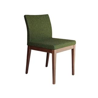 Photo of Aria Wood Dining Chair with Wool Seat in Forrest Green