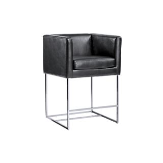 Agency Black Nobility Leather Counter Stool