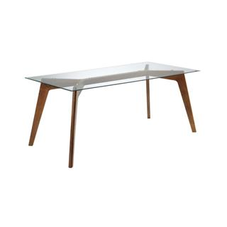 Blaze Rectangle Glass Dining Table with Walnut Legs