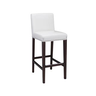 Photo of Brooke White Ivory Leather Bar Stool Nail Studding