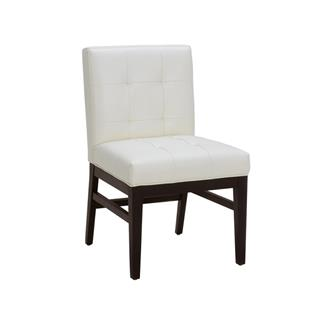 Photo of Bungalow White Leather Quilted Dining Chair