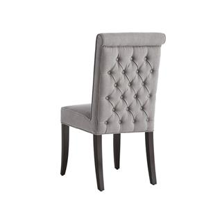 Photo of Baron Grey Tufted Dining Chair Upholstered Vintage Linen