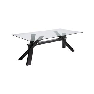 Broderick Large Glass Dining Table with Espresso Wood Base